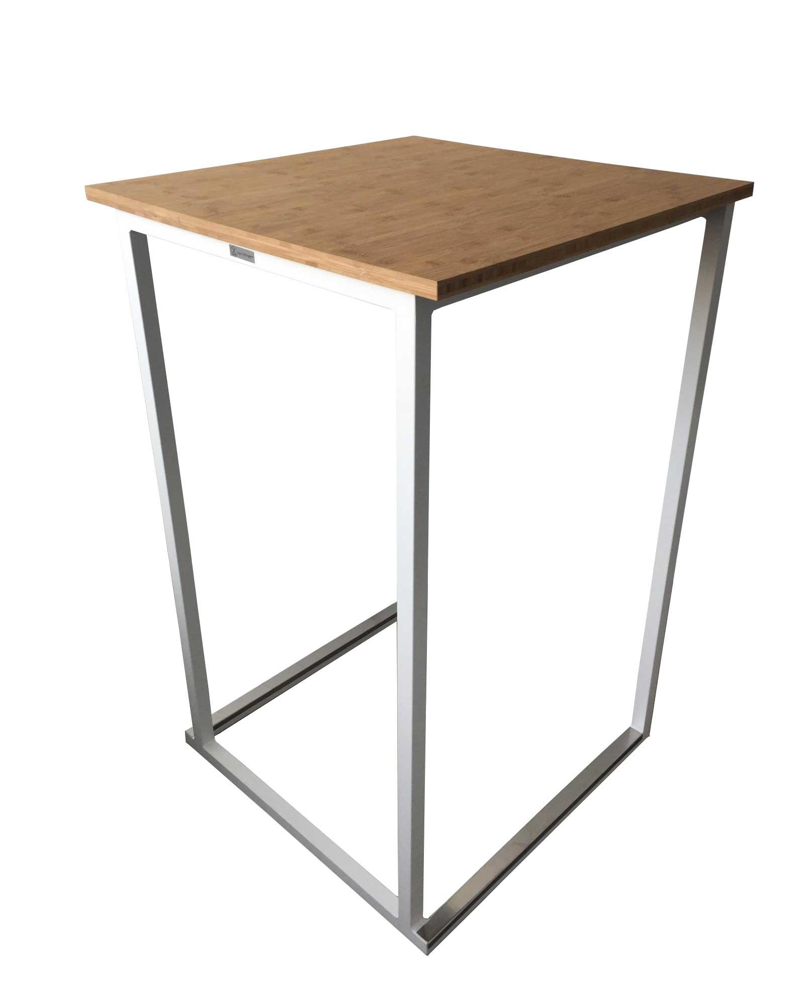 Location de table haute blanche - plateau couleur bois