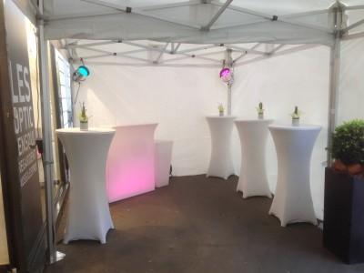 Location de table haute lycra blanc en Région parisienne