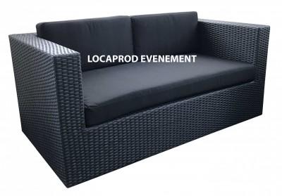 Location de canapé résine - Assise noir pour événement extérieur à Paris