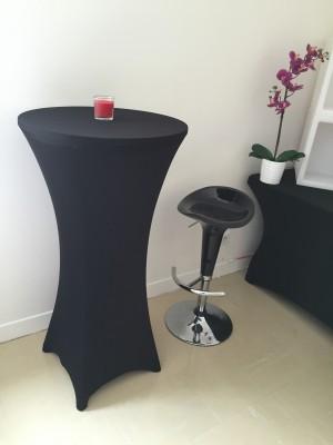 Location de table haute lycra noir en région parisienne