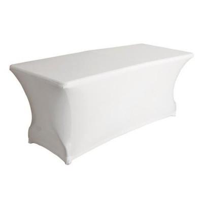 Location de table rectangulaire houssée blanche en région Parisienne