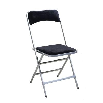 Location de chaise pliante APOLLINE velours argent noir en Ile de France