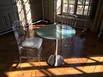 Location De Chaise Napoleon Transparente Et Table En Verre